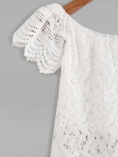 Blusa escote barco crochet encaje festoneado hueca-Spanish SheIn(Sheinside)