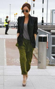 Victoria Beckham loose easy pants, tux jacket with shoulder pads.