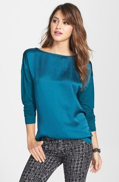 Halogen® Bateau Neck Woven Front Tee (Regular & Petite) available at #Nordstrom