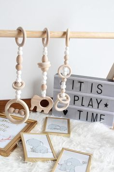 White wooden play gym toys / Set of 3 toys / Safe for teething