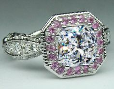 Radiant Diamond Vintage Pave engagement ring Pink sapphire halo
