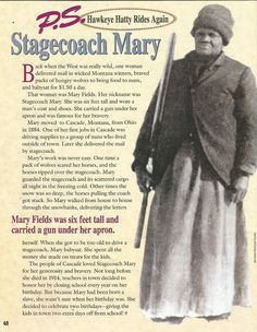 American Girl Magazine - January 1993/February 1993 Issue - Page 49 (All About Stagecoach Mary)