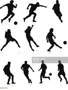 Arte vectorial : Siluetas de los jugadores de fútbol-negro.