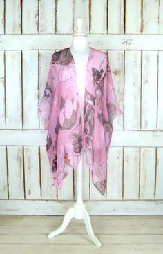 Sheer gauzy pink/red floral handmade kimono cardigan cover up/long lightweight sheer blouse/lingerie/gypsy festival top  Features…