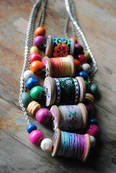 Sew Chic Wood Spool Beaded Vintage Necklace by Run2theWild on Etsy, $20.00