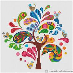 Thrilling Designing Your Own Cross Stitch Embroidery Patterns Ideas. Exhilarating Designing Your Own Cross Stitch Embroidery Patterns Ideas. Cross Stitch Tree, Modern Cross Stitch, Cross Stitch Flowers, Cross Stitch Designs, Cross Stitch Patterns, Cross Stitching, Cross Stitch Embroidery, Embroidery Patterns, Hand Embroidery