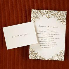 "This ecru invitation has mocha vintage designs giving it an elegant look.   ""5 1/2 x 7 1/2"" (Invitation Link - http://occasionsinprint.carlsoncraft.com/Weddings/Invitations/MR-MR7048-Mocha-Vintage--Invitation.pro)"
