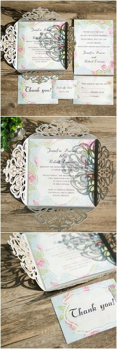 2016 trending pink and blue laser cut wedding invitations for spring and summer EWWS059