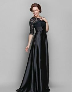 2ab9f7e50a58 Black Mother of the Bride Dresses Half Sleeves Lace Satin Custom Size 6 8  10 12