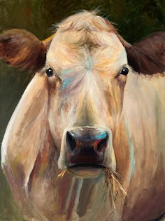 Cow Painting - Bridget - Paper or Canvas Giclee Print by ArtPaperGarden on Etsy… Cow Pictures, Art Watercolor, Cow Painting, Painting Canvas, Canvas Art, Canvas Prints, Cow Art, Animal Paintings, Animal Painter