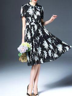 Printed/Dyed Pleated Midi Dress