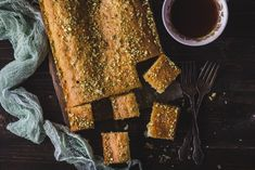 Saffron & Rose water sheet cake with orange blossom honey syrup Orange Blossom Honey, Honey Syrup, Rose Water, Pistachio, Cool Kitchens, Vegetarian, Monkey, Kitchen Ideas, Desserts