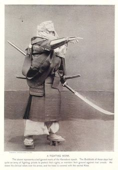 A fighting monk - representing a belligerent Buddhist monk of the Kamakura period. From Military Costumes in Old Japan. Photographed by K. Ogawa, under the direction of Chitora Kawasaki of Ko-yu-kai (Tokyo Fine Art School), Tokyo, K. Ogawa, 1895. S)