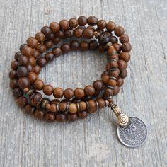 108 bead and vintage coin pendant, wrap bracelet or necklace # WebMatrix 1.0