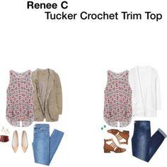 Renee C Tucker Crochet Trim Top