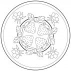 Strawberry Mandala for kids to color. Full-size version available for free from our website at www.kigaportal.com