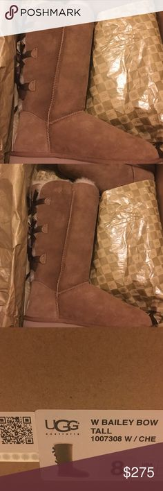 Authentic Bailey Bow 8W Authentic Ugg Bailey Bow tall size 8W chestnut color never been worn UGG Shoes Winter & Rain Boots