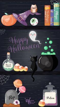 Wallpaper… By Artist Unknown… - Halloween Fondos Chat Halloween, Halloween Tags, Halloween Pictures, Holidays Halloween, Halloween Crafts, Halloween 2019, Halloween Party, Halloween Costumes, Holiday Wallpaper