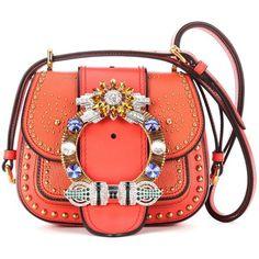 Miu Miu Embellished Leather Shoulder Bag (€3.035) ❤ liked on Polyvore featuring bags, handbags, shoulder bags, red, red leather shoulder bag, orange leather purse, leather shoulder handbags, leather handbags and red leather handbags