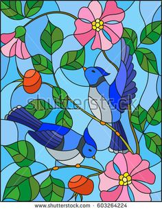 Illustration in stained glass style with two blue jays on the branches of blooming wild rose on a background sky Stained Glass Quilt, Stained Glass Designs, Stained Glass Projects, Stained Glass Patterns, Easy Mosaic, Mosaic Art, Mosaic Glass, Glass Art, Bloom And Wild