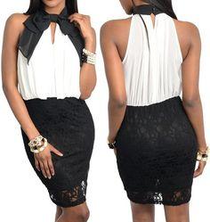 New Airy Mod Tie Neck Draped Pleat Dress Mixed Media Black Lace Dress NWT Sz 2 #Fashion #SheathStretchBodycon #Cocktail
