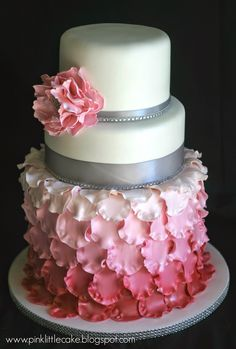 Ombre Petal Baptism Cake