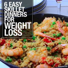 6 Easy Skillet Dinners for Weight Loss--I love one pot dinners! #easy #skillet #dinners #weightloss