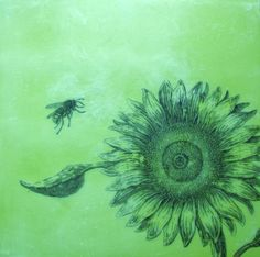 """Encaustic painting """"Bees: Bee and Sunflower"""" by Suzanne Hauerstein Web and Elm Studio on etsy."""