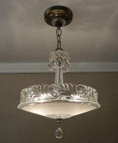 Antique Chandelier 1930 Vintage Deco Nouveau by VintageGlassLights