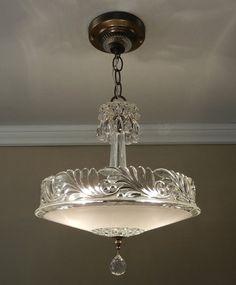 Antique Chandelier 1930 Vintage Deco Nouveau Fleur-de-Lis Glass Ceiling Light Fixture Rewired on Etsy, $379.00