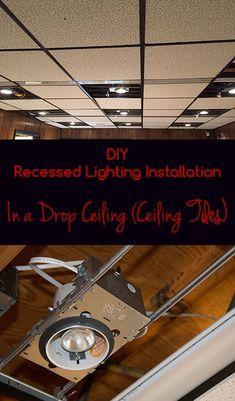 DIY Recessed Lighting Installation in a Drop Ceiling (Ceiling Tiles), Part 3 - Super NoVA Adventures Drop Ceiling Basement, Drop Ceiling Lighting, Garage Lighting, Ceiling Lights, Bedroom Lighting, Kitchen Lighting, Drop Ceiling Tiles, Ceiling Decor, Basement Makeover