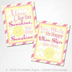 You Are Our Sunshine INSTANT DOWNLOAD Sunshine Party Printable 8x10  This is an…