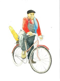French characters...Man on a bicycle by ranapix on  All artwork by Rana J Rodger © www.ranapix.co.uk www.jennirodger@co.uk Handmade greetingcards posters and gifts created with love..ideal for xmas, thanksgiving, birthdays and any occasions. Contact jenni.rodger@gmail.com for more details