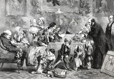 Illustration from the Illustrated London News, December 1856 drawn by John Gilbert.; An opulent Victorian interior scene of the whole family around the table unpacking and unwrapping Uncle William's grand Christmas presents that have just arrived in a wooden crate.