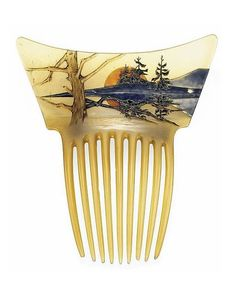 Hair Jewelry An Art Nouveau horn and enamel hair comb with orange sun landscape, by Rene Lalique, c. Hair Jewelry, Jewelry Art, Vintage Jewelry, Vintage Art, Hippie Jewelry, Bijoux Art Nouveau, Art Nouveau Jewelry, Lalique Jewelry, Ideas Joyería