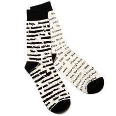 Socks listing the great titles that have been banned through the years, to help support Banned Books Week.