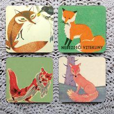 A Skulk of Foxes -- Vintage Illustration Mousepad Coaster Set - 21.00