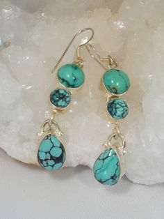 Eye-catching Tibetan Turquoise dangle gemstone earring set with two round gemstones and one teardrop dangle, bezel-set in 925-hallmarked sterling silver. Total length: 2.2""