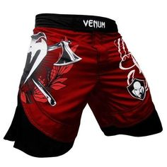 """Venum Wanderlei The Axe Murderer Silva Fightshorts-Red-2XL Venum. $62.50. Two battle axes with laurels on right leg - Wanderlei's logo is on the left.100% high quality microfiber (polyester)New Venum anatomical cutSerigraphy of high qualitySide slits for ultimate mobilityVelcro and lace waistbandUltra lightweightSizes translate to: XS (30""""), S (31/32""""), M, (33""""), L (34/35""""), XL (36/37""""), XXL (38"""")"""