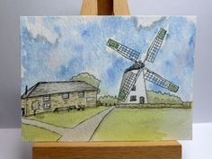 An original ink and watercolour painting of Llynnon Mill, Anglesey, North Wales. It is ACEO size - x x I have used artist Watercolor And Ink, Watercolour Painting, Anglesey, North Wales, Pigment Ink, Miniatures, The Originals, Artist, Cards