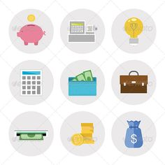 Finance Icons in Flat Design — JPG Image #briefcase #finance • Available here → https://graphicriver.net/item/finance-icons-in-flat-design/5138588?ref=pxcr