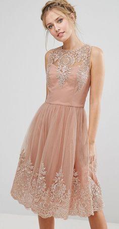 Beautiful blush lace bridesmaid dress with illusion neckline
