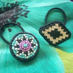 ビーズ #エスニック #ヘアゴム #beads #handmade #オルテガ #刺繍 #beadswork #ネイティヴ #ビーズ刺繍