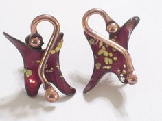 Very Rare Vintage MATISSE Red and Gold Enamel by TheCopperCat, $32.00