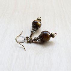 Genuine Tiger Eye Earrings Drop Earrings Victorian by BazaarDChela, $14.00