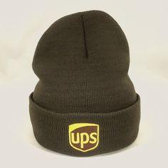 a99e842f717 UPS Beanie Winter Hat Decky Custom Embroidery Cuffed ups Knit Brown   fashion  clothing