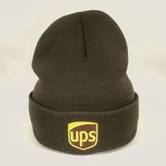 9a743462f28 UPS Beanie Winter Hat Decky Custom Embroidery Cuffed ups Knit Brown  fashion   clothing