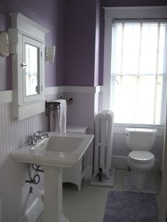 This image shows VINYL hex patterned sheet goods. Perfect for a bathroom in an older home that has shifting issues. Lilac Bathroom, Purple Bathrooms, Old Bathrooms, Vintage Bathrooms, Toilet Room Decor, Bathroom Inspiration, Bathroom Ideas, Restroom Ideas, Grey Cupboards