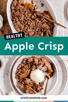 Made with rolled oats and whole wheat flour, this healthy apple crisp is an easy, fall inspired dessert. Ready in just under an hour, this apple crisp is a low-hassle alternative to the traditional apple pie. It's refined sugar free, can be made dairy free, and bursting with fall flavors!