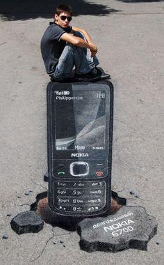 3D, Nokia Chalk Art #street art #grafitti